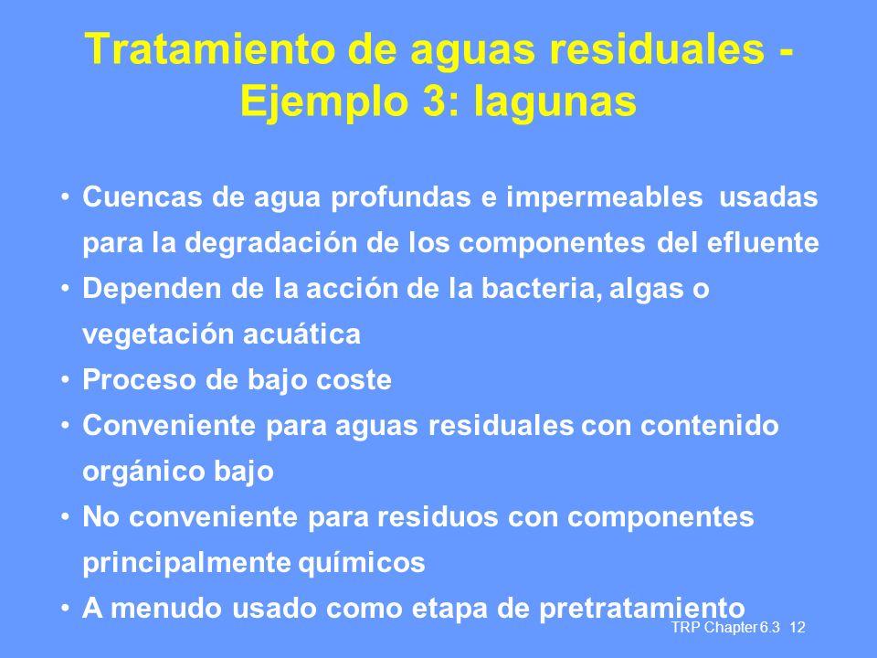 Tratamiento de aguas residuales - Ejemplo 3: lagunas