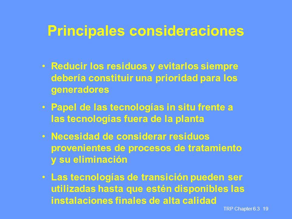 Principales consideraciones