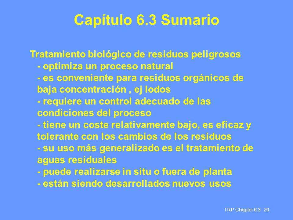 Capítulo 6.3 Sumario Tratamiento biológico de residuos peligrosos
