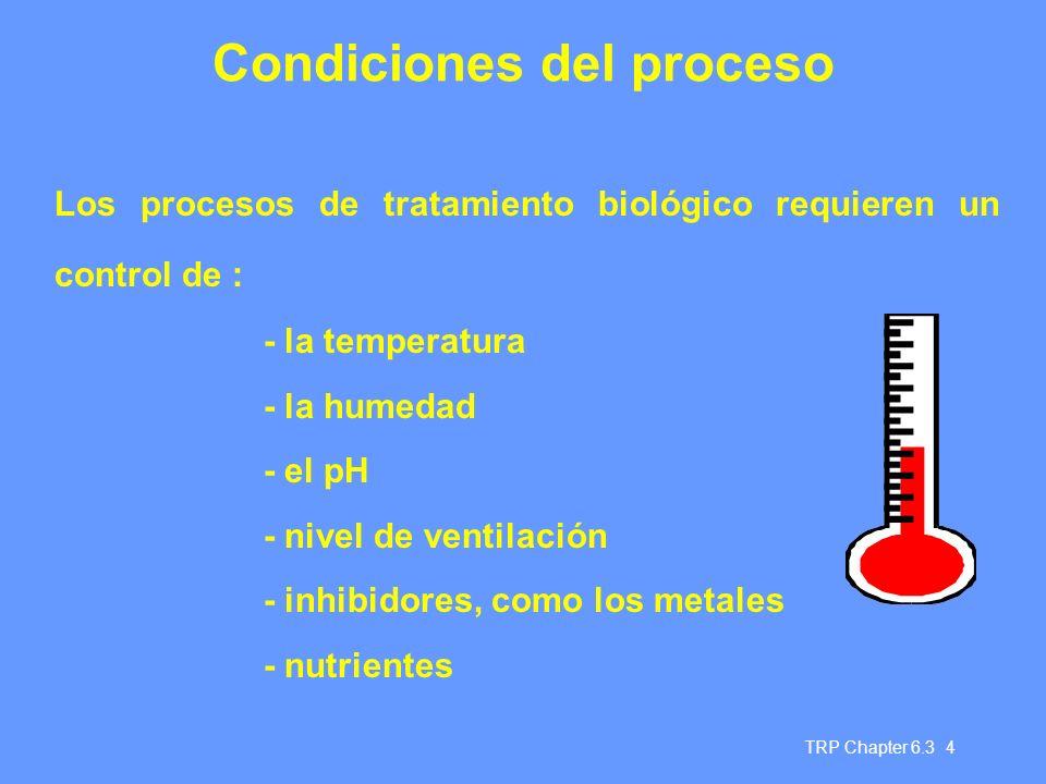 Condiciones del proceso