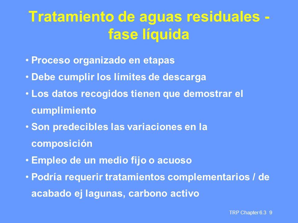 Tratamiento de aguas residuales - fase líquida