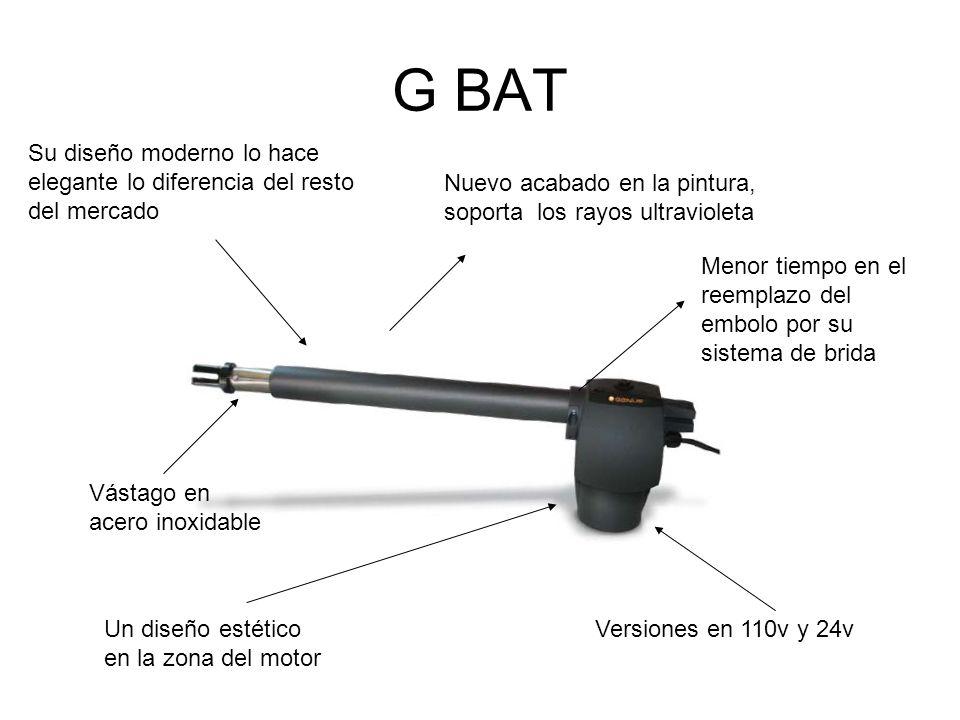 G BAT Su diseño moderno lo hace elegante lo diferencia del resto del mercado. Nuevo acabado en la pintura, soporta los rayos ultravioleta.