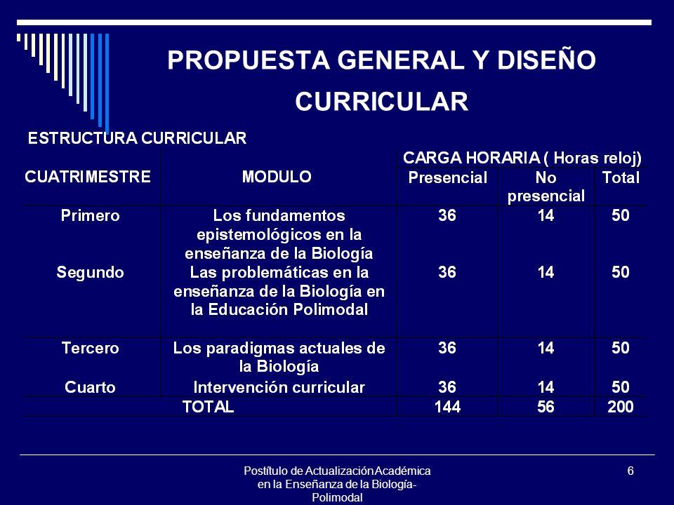 PROPUESTA GENERAL Y DISEÑO CURRICULAR