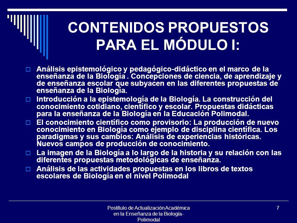 CONTENIDOS PROPUESTOS PARA EL MÓDULO I: