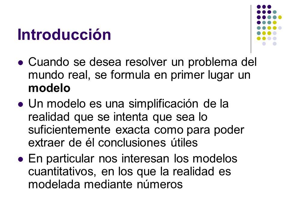 Introducción Cuando se desea resolver un problema del mundo real, se formula en primer lugar un modelo.