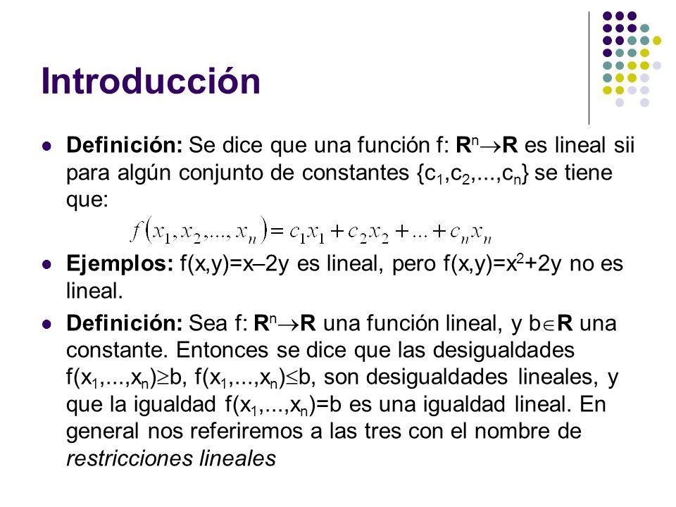Introducción Definición: Se dice que una función f: RnR es lineal sii para algún conjunto de constantes {c1,c2,...,cn} se tiene que: