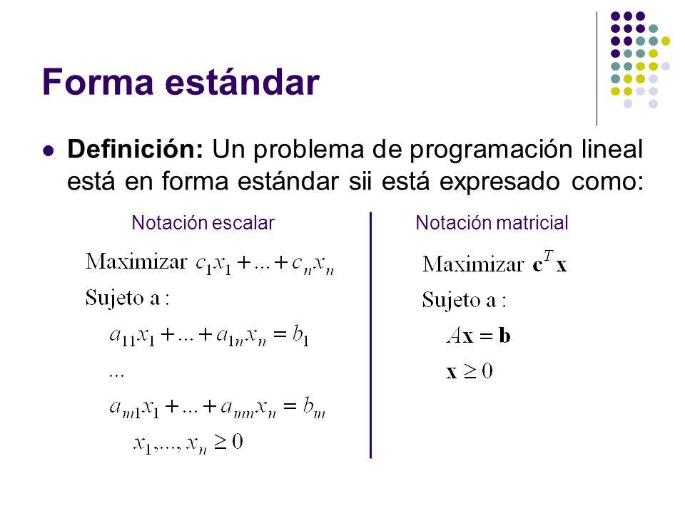 Forma estándar Definición: Un problema de programación lineal está en forma estándar sii está expresado como: