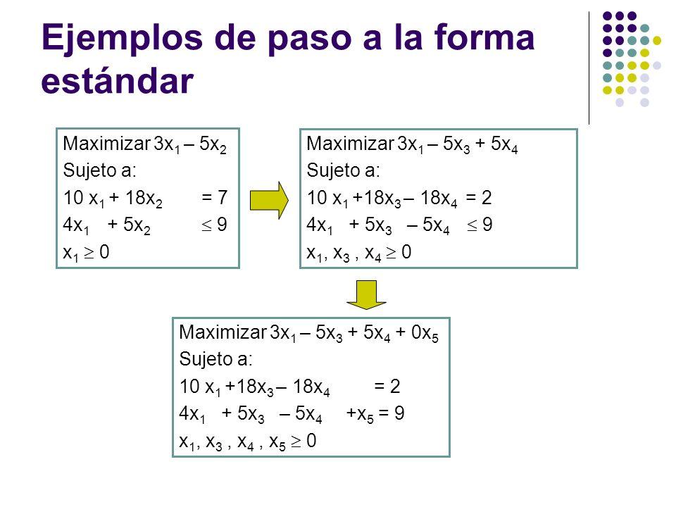 Ejemplos de paso a la forma estándar