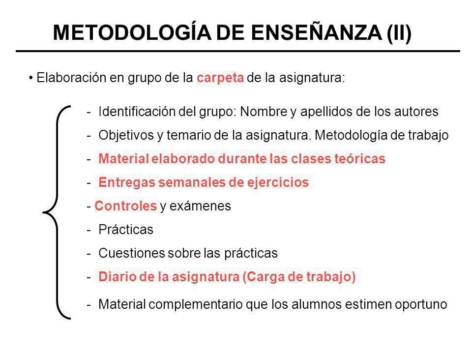 METODOLOGÍA DE ENSEÑANZA (II)