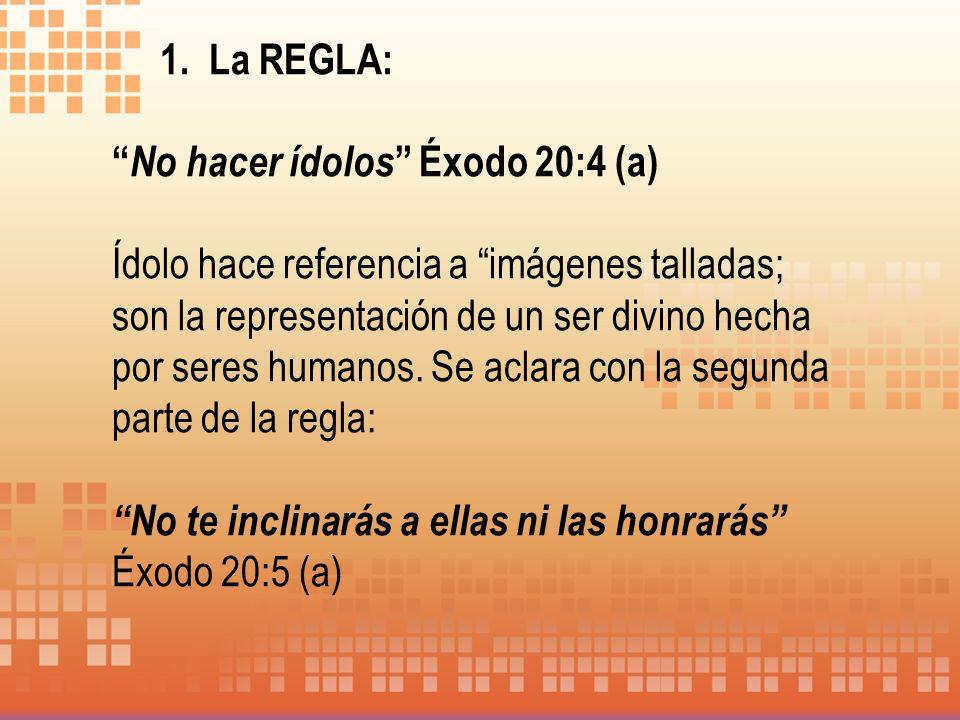 1. La REGLA: No hacer ídolos Éxodo 20:4 (a)