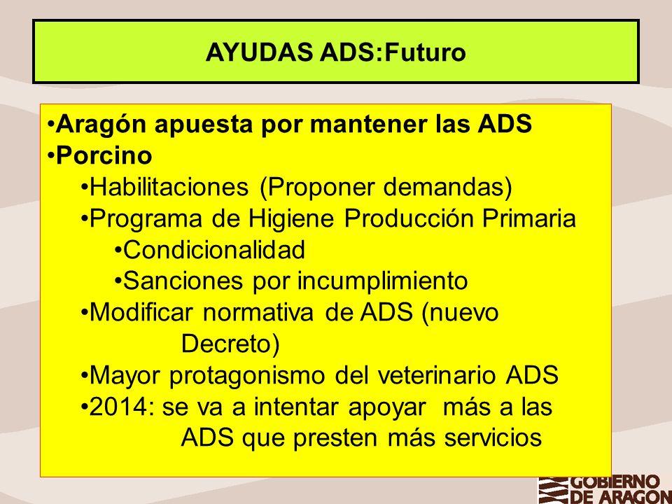 AYUDAS ADS:Futuro Aragón apuesta por mantener las ADS. Porcino. Habilitaciones (Proponer demandas)