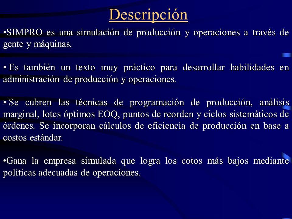 Descripción SIMPRO es una simulación de producción y operaciones a través de gente y máquinas.