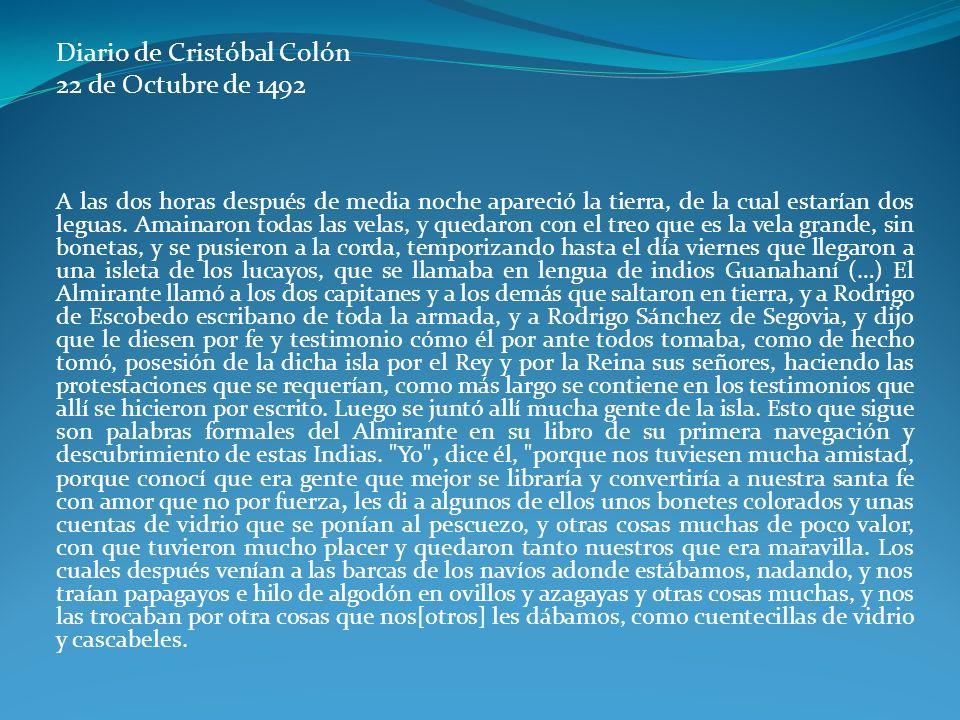 Diario de Cristóbal Colón 22 de Octubre de 1492
