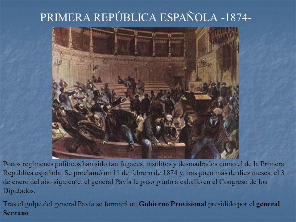 PRIMERA REPÚBLICA ESPAÑOLA -1874-