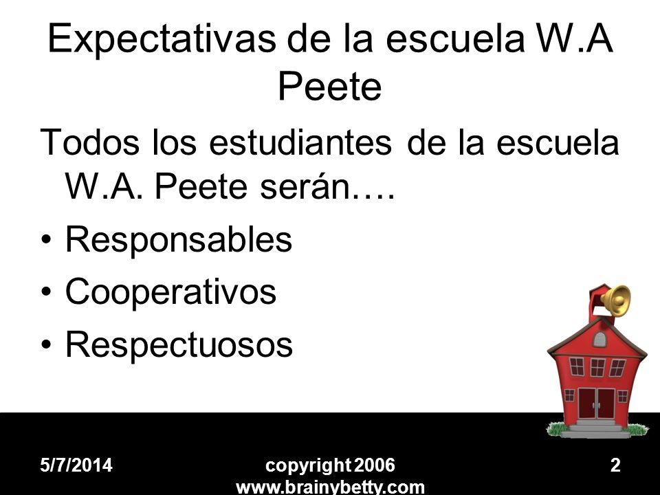 Expectativas de la escuela W.A Peete