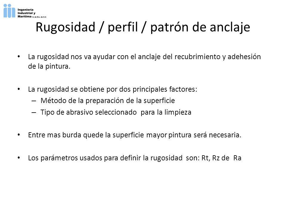 Rugosidad / perfil / patrón de anclaje