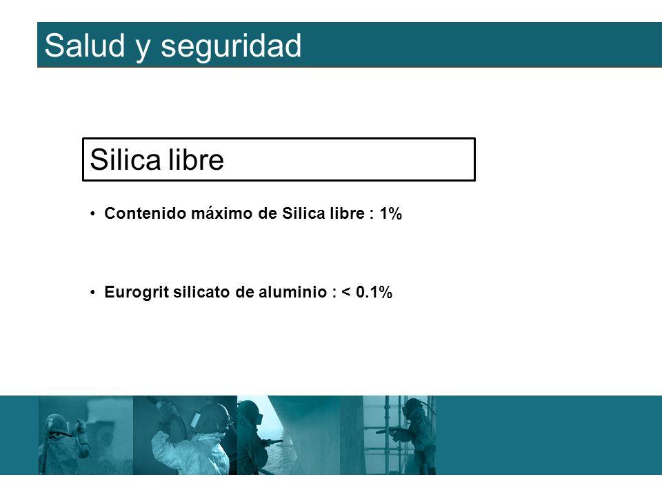 Salud y seguridad Silica libre Contenido máximo de Silica libre : 1%