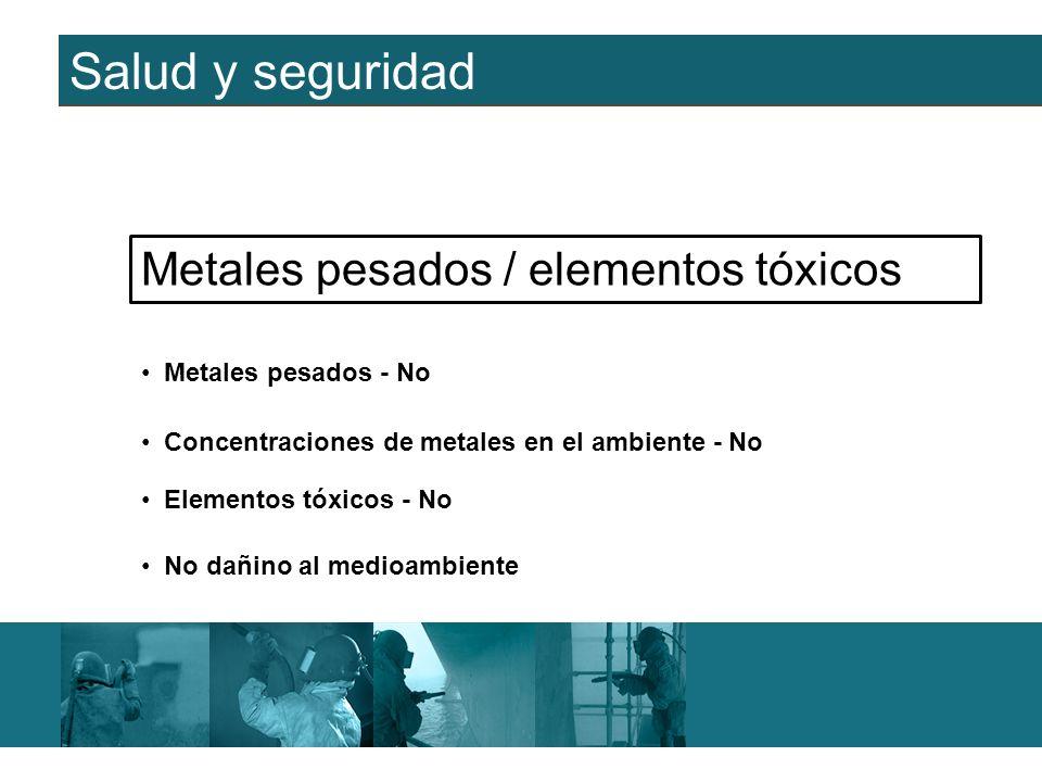 Salud y seguridad Metales pesados / elementos tóxicos