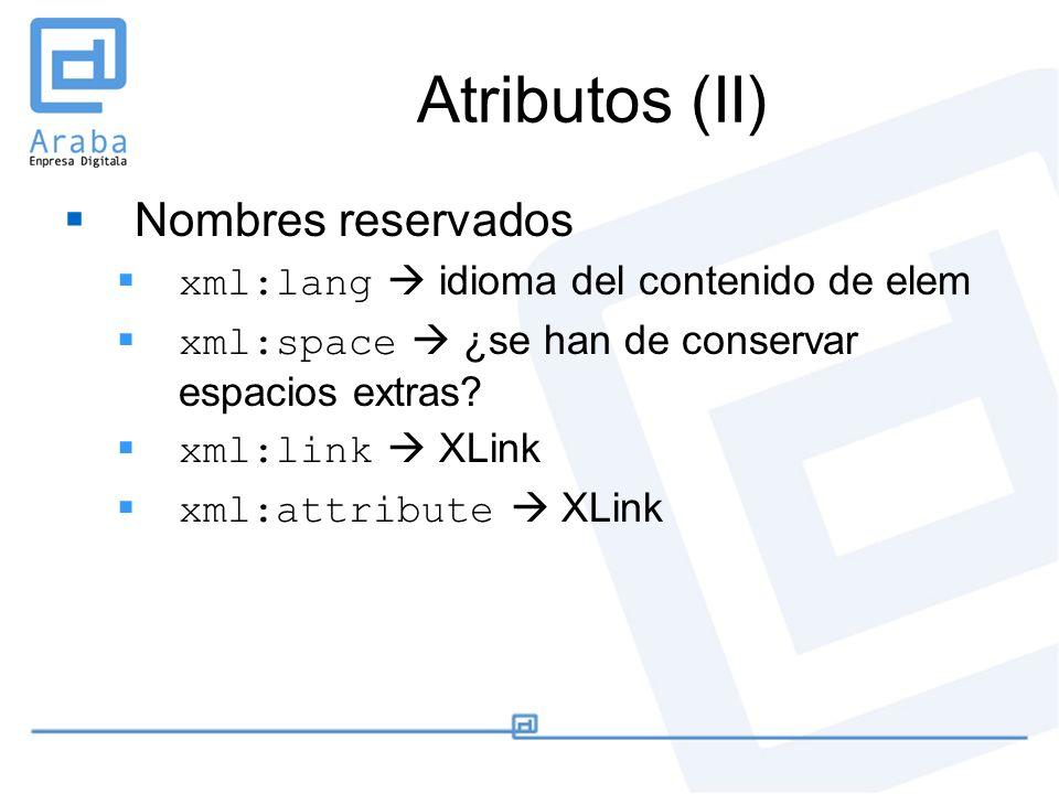 Atributos (II) Nombres reservados