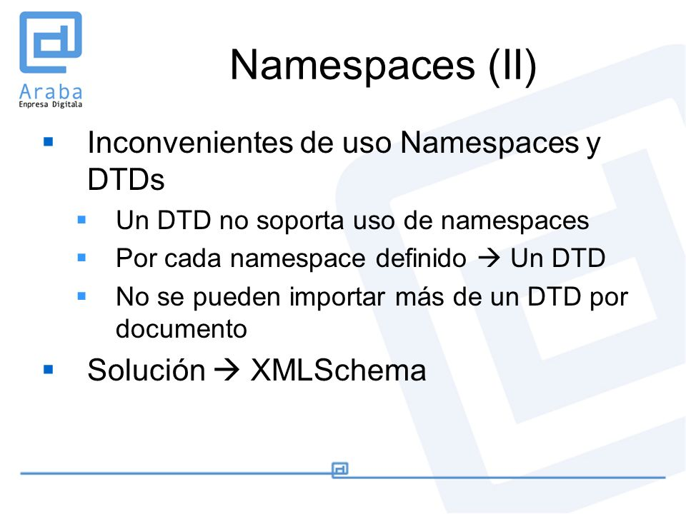 Namespaces (II) Inconvenientes de uso Namespaces y DTDs