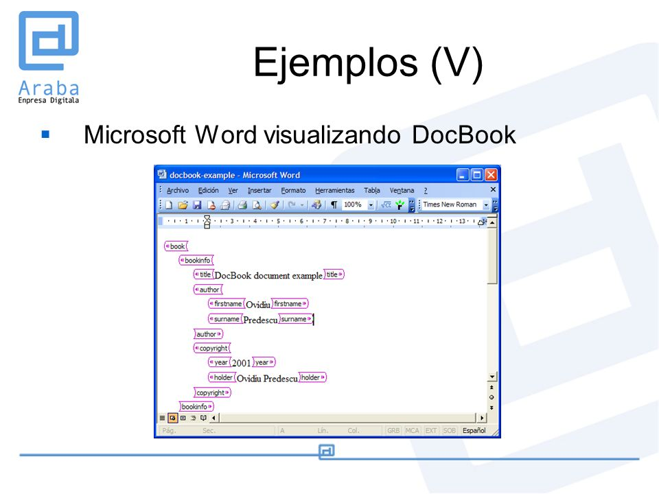 Ejemplos (V) Microsoft Word visualizando DocBook