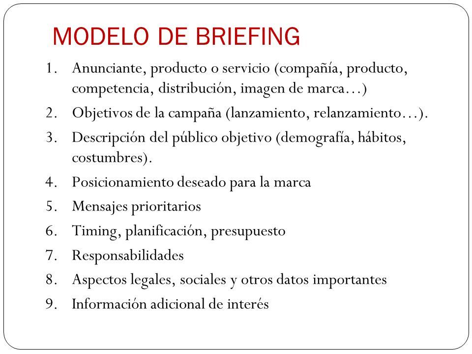 MODELO DE BRIEFING Anunciante, producto o servicio (compañía, producto, competencia, distribución, imagen de marca…)