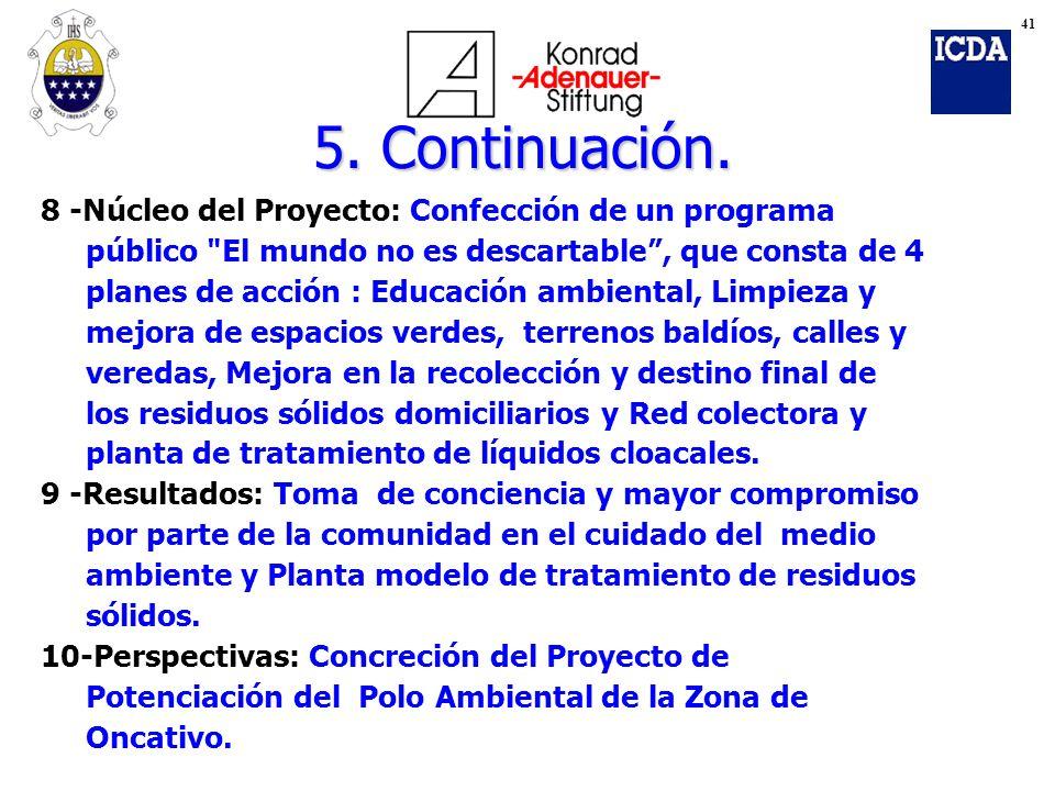 5. Continuación. 8 -Núcleo del Proyecto: Confección de un programa