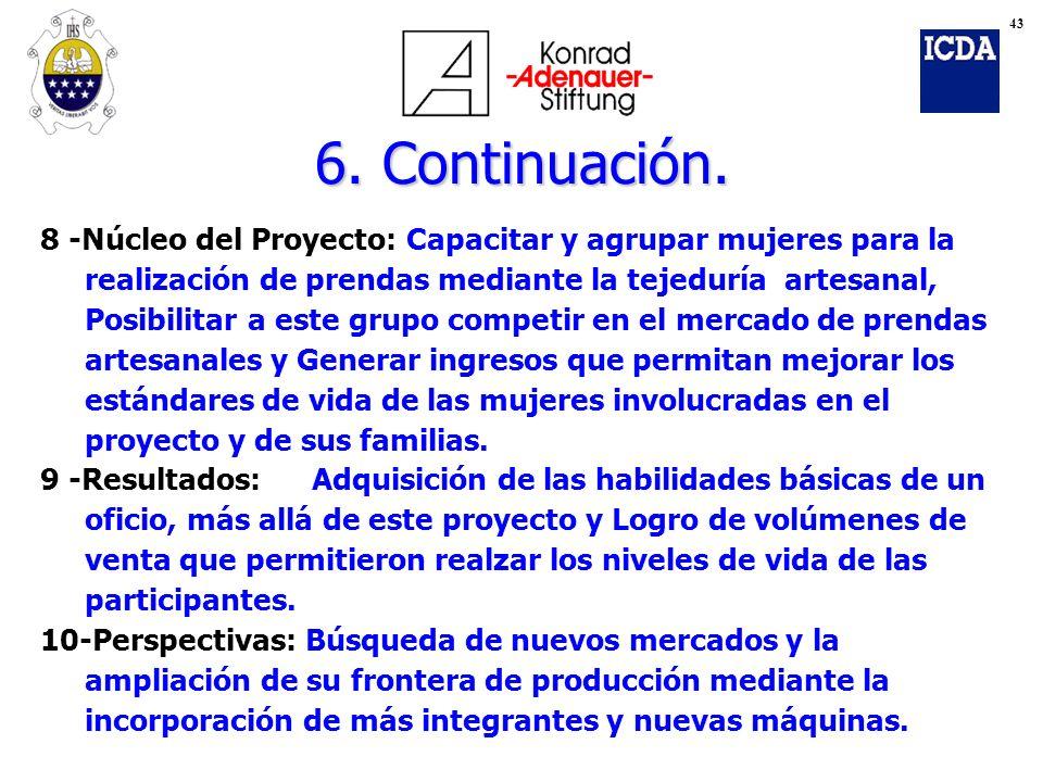 43 6. Continuación. 8 -Núcleo del Proyecto: Capacitar y agrupar mujeres para la. realización de prendas mediante la tejeduría artesanal,