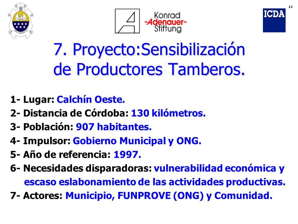 7. Proyecto:Sensibilización de Productores Tamberos.