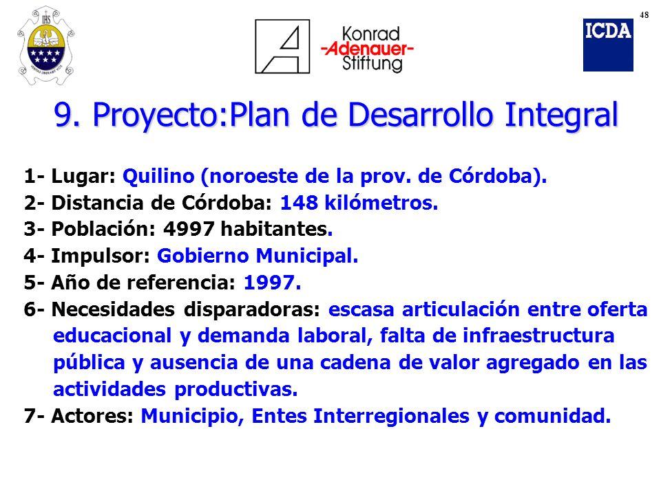 9. Proyecto:Plan de Desarrollo Integral
