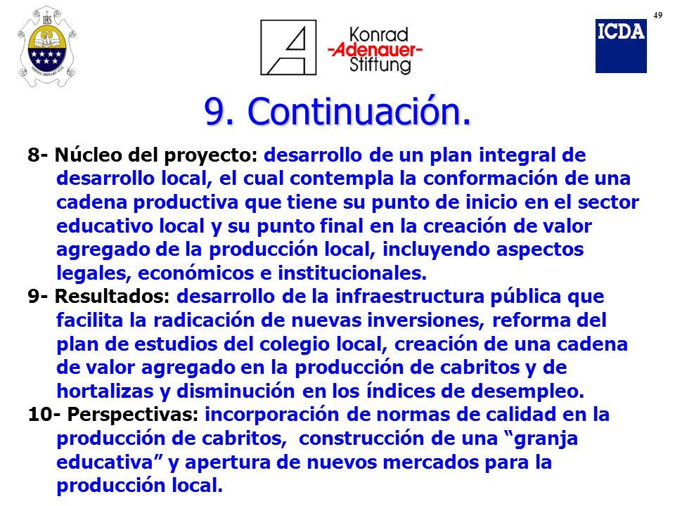 49 9. Continuación. 8- Núcleo del proyecto: desarrollo de un plan integral de. desarrollo local, el cual contempla la conformación de una.