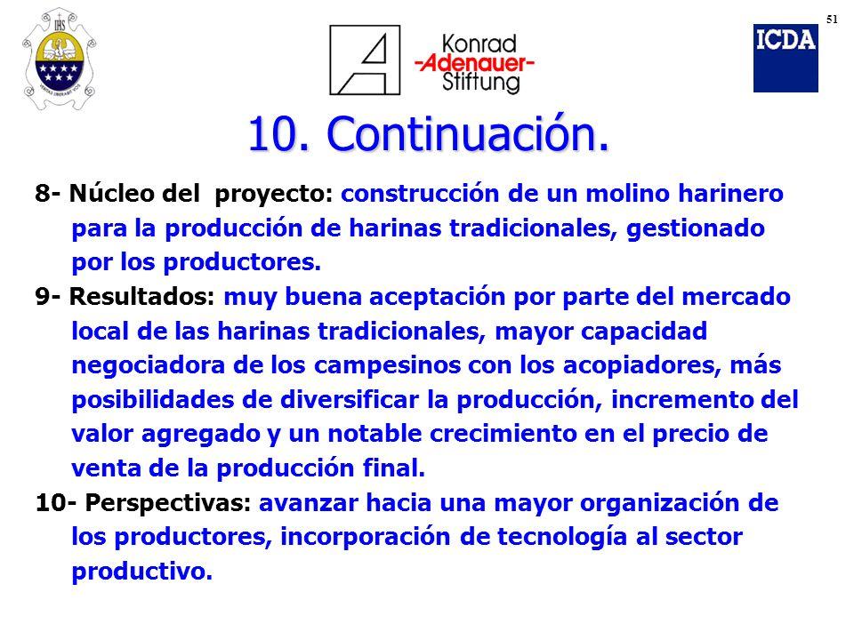 51 10. Continuación. 8- Núcleo del proyecto: construcción de un molino harinero. para la producción de harinas tradicionales, gestionado.