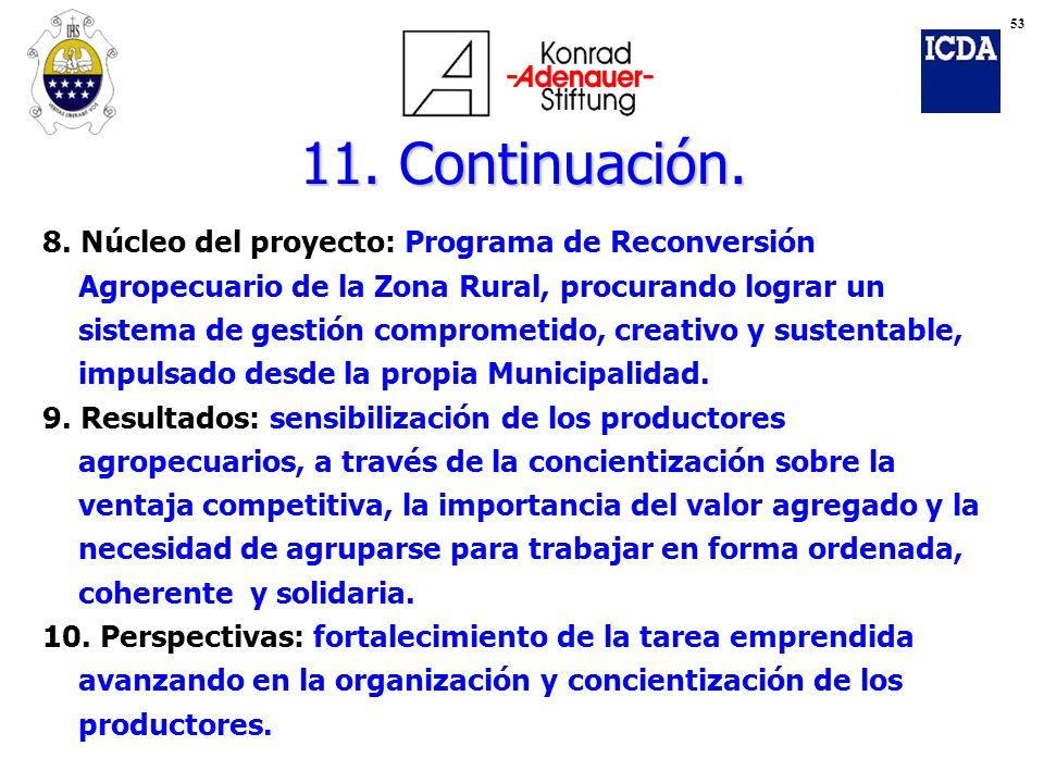 11. Continuación. 8. Núcleo del proyecto: Programa de Reconversión