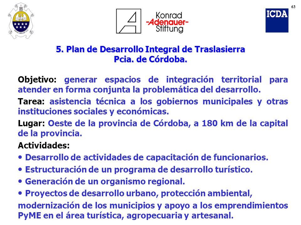 5. Plan de Desarrollo Integral de Traslasierra Pcia. de Córdoba.