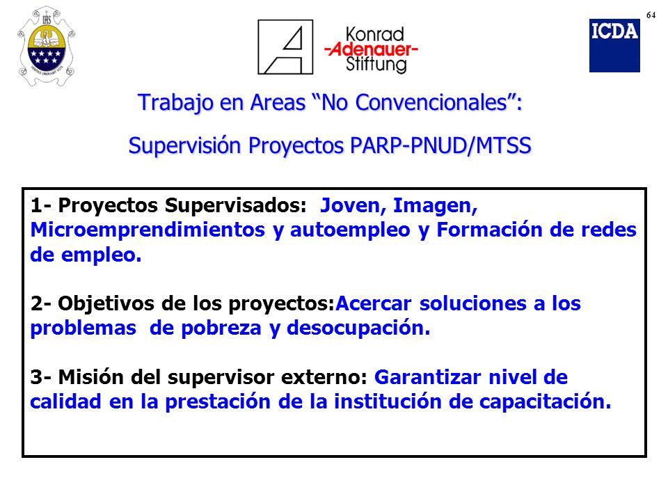 64 Trabajo en Areas No Convencionales : Supervisión Proyectos PARP-PNUD/MTSS.