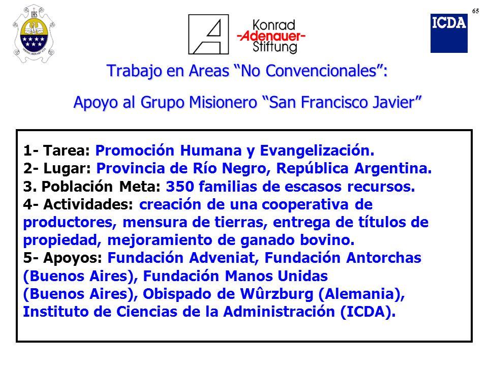 65 Trabajo en Areas No Convencionales : Apoyo al Grupo Misionero San Francisco Javier 1- Tarea: Promoción Humana y Evangelización.