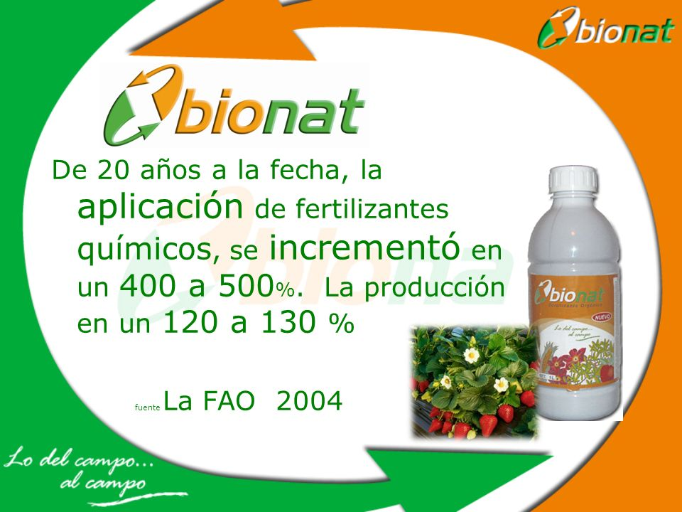 De 20 años a la fecha, la aplicación de fertilizantes químicos, se incrementó en un 400 a 500%. La producción en un 120 a 130 %