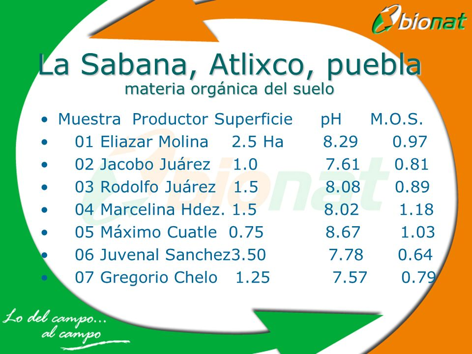 La Sabana, Atlixco, puebla materia orgánica del suelo