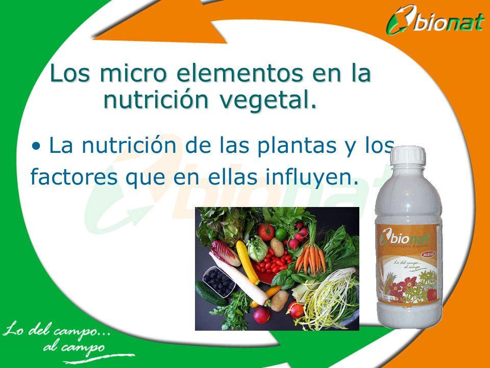 Los micro elementos en la nutrición vegetal.