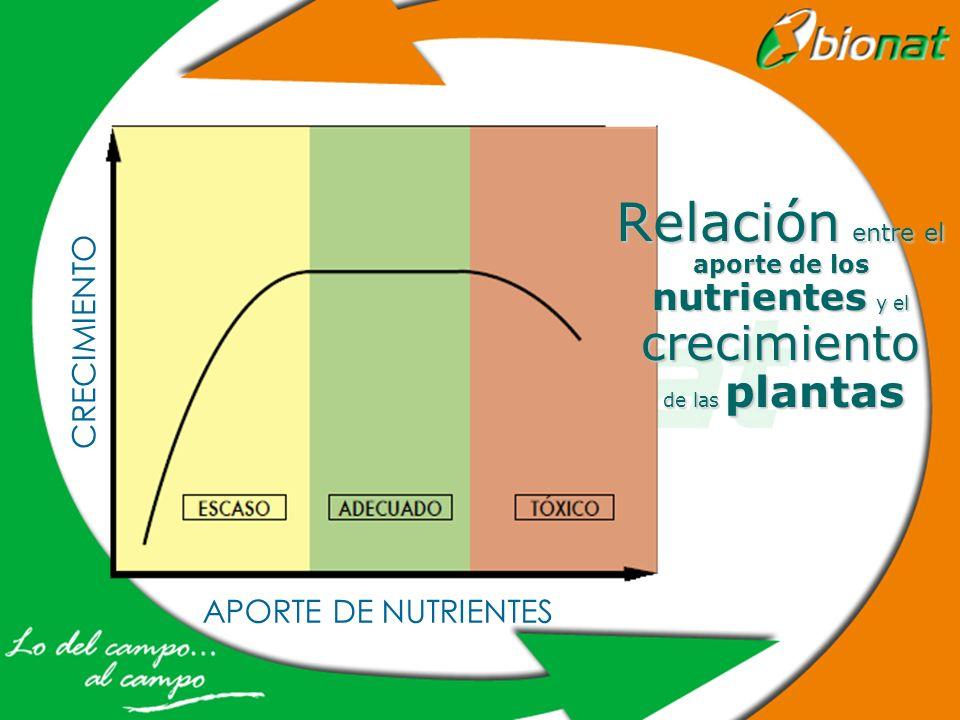 Relación entre el aporte de los nutrientes y el crecimiento de las plantas