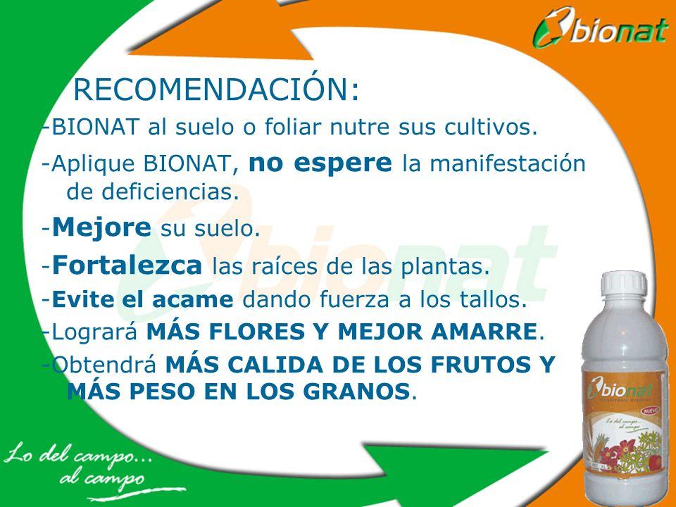 RECOMENDACIÓN: -BIONAT al suelo o foliar nutre sus cultivos.