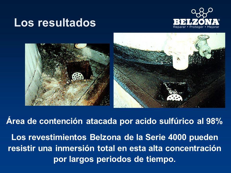 Área de contención atacada por acido sulfúrico al 98%