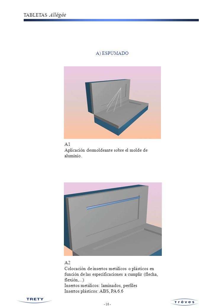 Aplicación desmoldeante sobre el molde de aluminio.