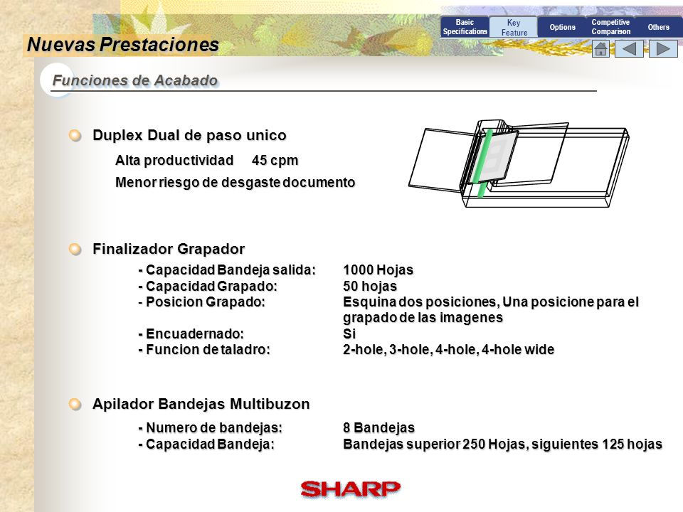 B Nuevas Prestaciones Funciones de Acabado Duplex Dual de paso unico