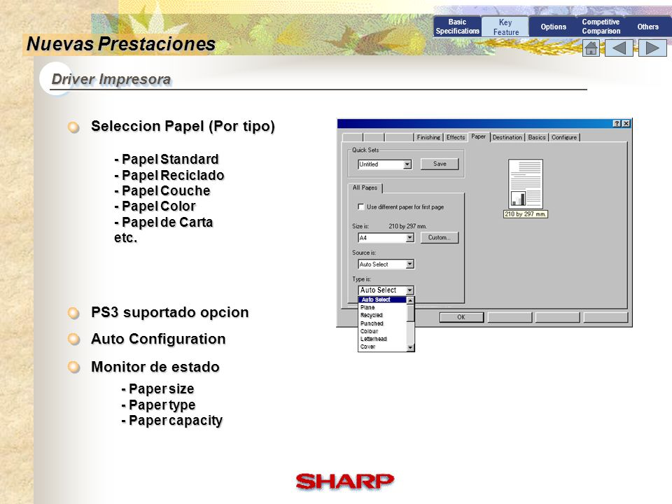 Nuevas Prestaciones Driver Impresora Seleccion Papel (Por tipo)