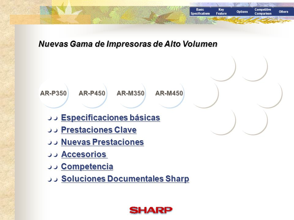 Especificaciones básicas Soluciones Documentales Sharp