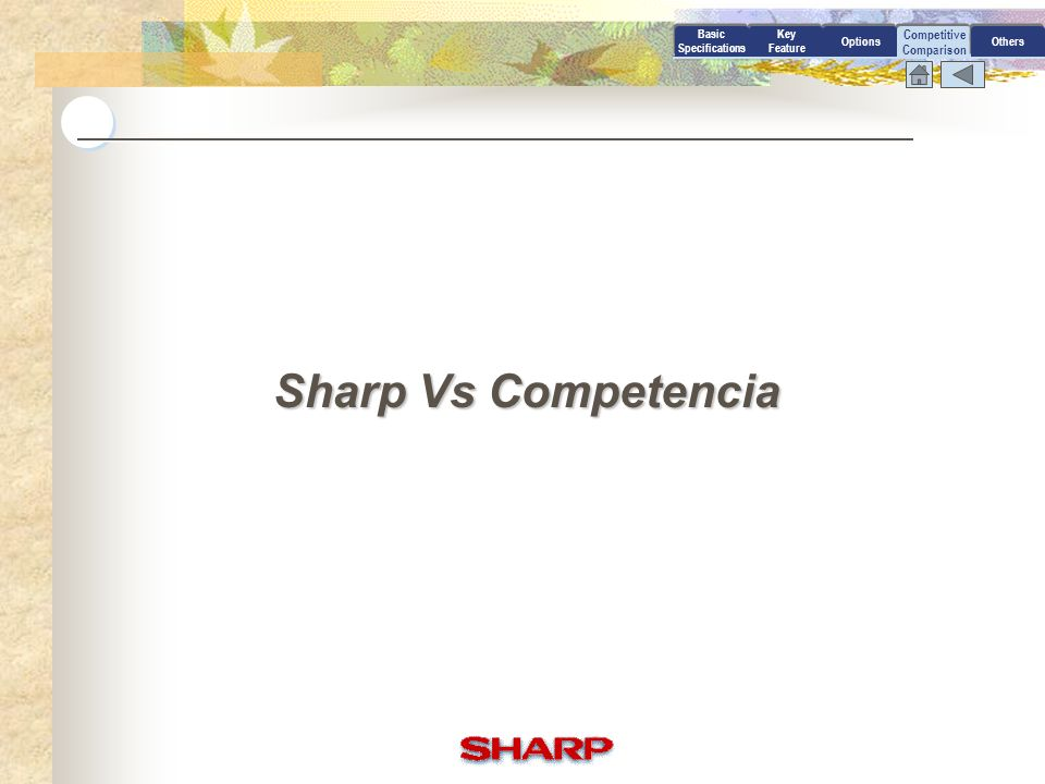 Sharp Vs Competencia Competitive Comparison Basic Specifications Key