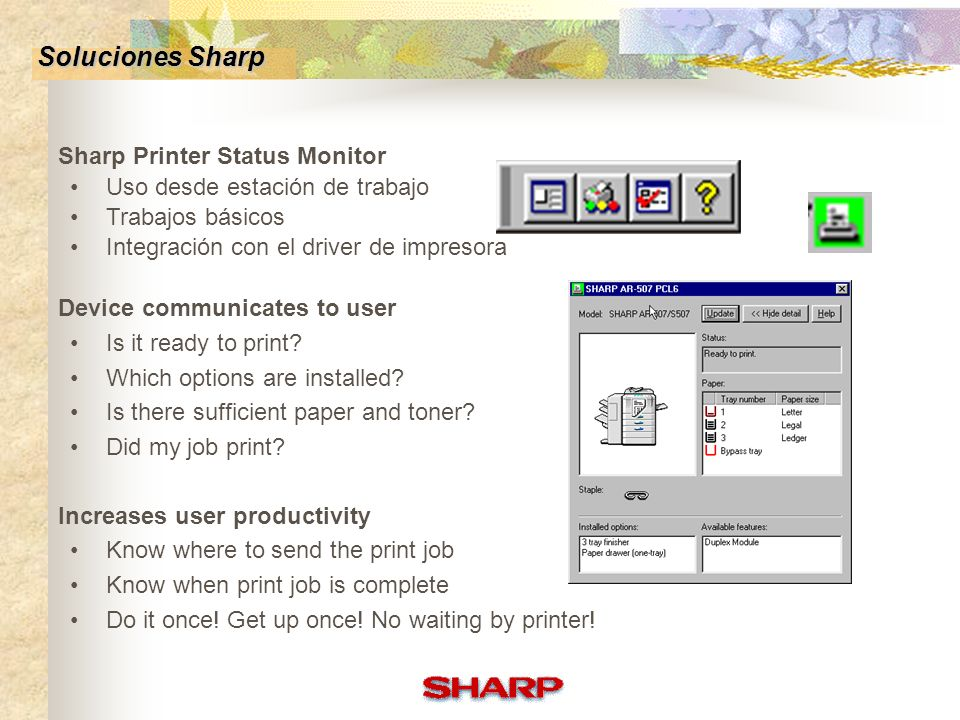 Soluciones Sharp Sharp Printer Status Monitor