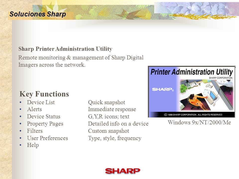 Key Functions Soluciones Sharp Sharp Printer Administration Utility