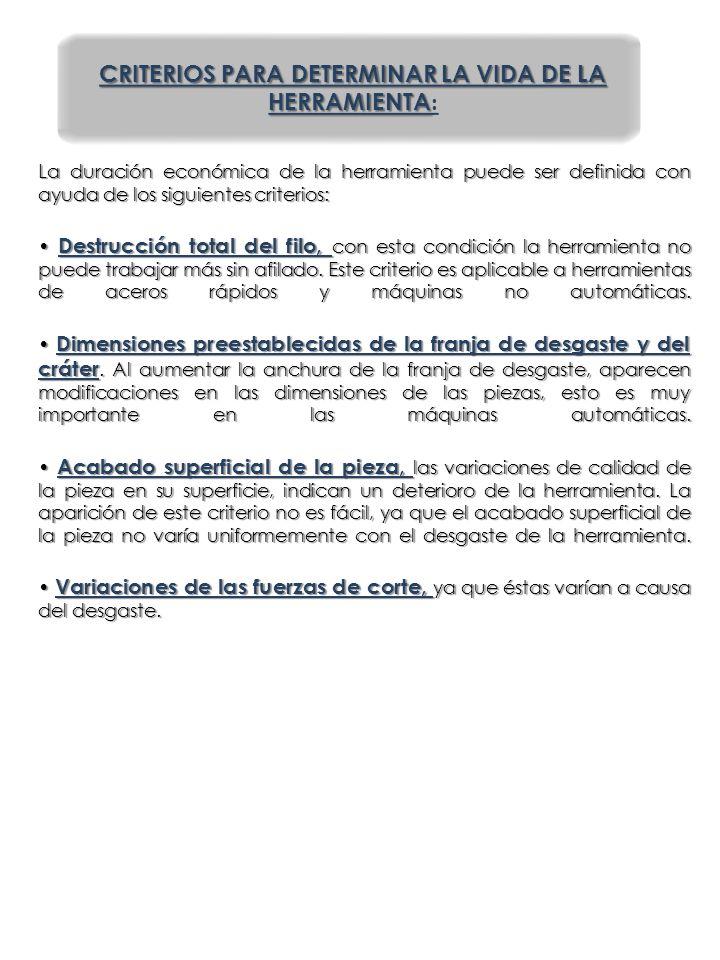 CRITERIOS PARA DETERMINAR LA VIDA DE LA HERRAMIENTA: